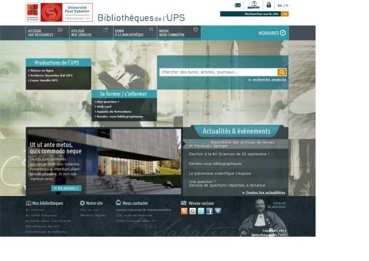 Maquette site web bibliothèques de l'ups(v10-)