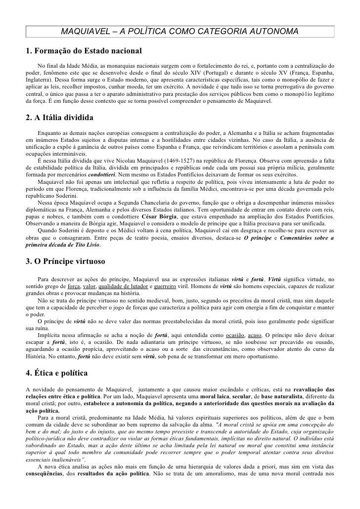 MAQUIAVEL – A POLÍTICA COMO CATEGORIA AUTONOMA  1. Formação do Estado nacional      No final da Idade Média, as monarquias...