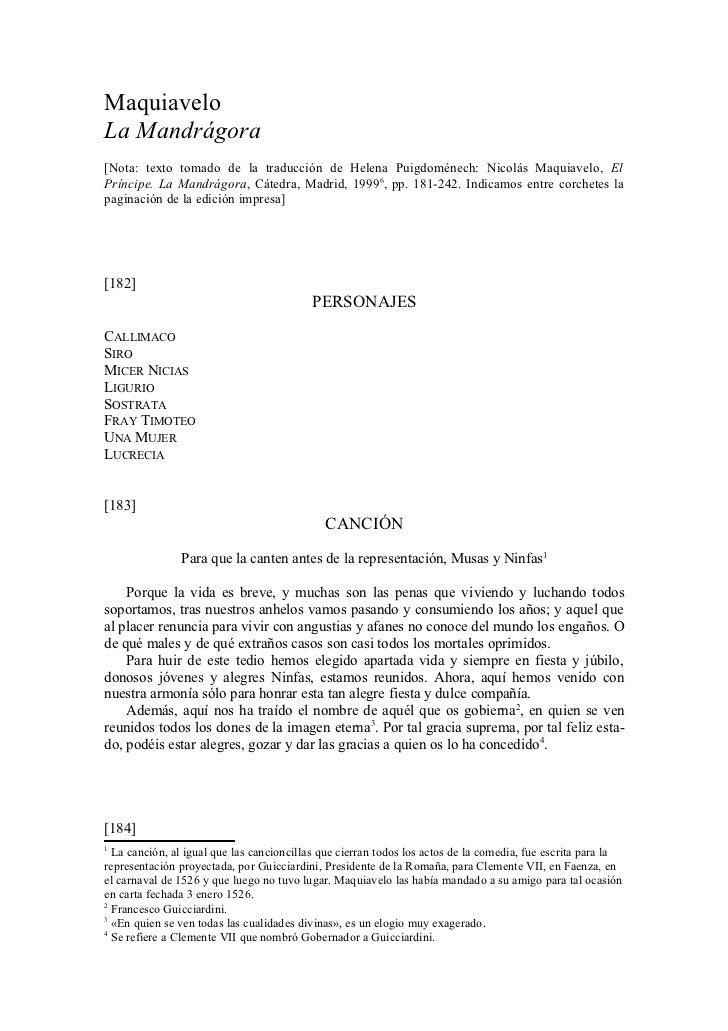 MaquiaveloLa Mandrágora[Nota: texto tomado de la traducción de Helena Puigdoménech: Nicolás Maquiavelo, ElPríncipe. La Man...