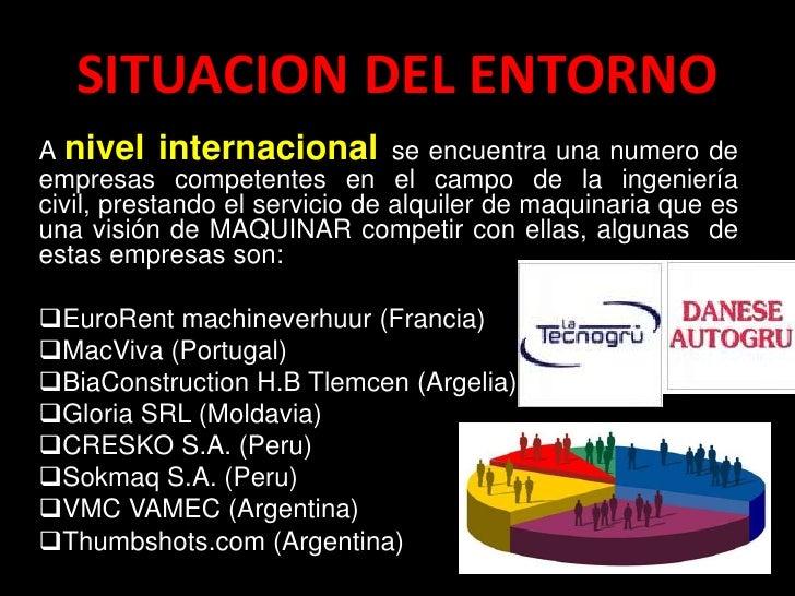 SITUACION DEL ENTORNOA nivel internacional se encuentra una numero deempresas competentes en el campo de la ingenieríacivi...