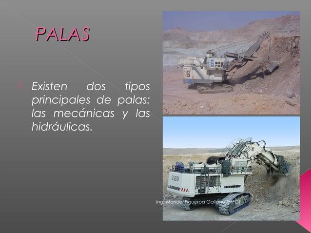 PALASPALAS  Existen dos tipos principales de palas: las mecánicas y las hidráulicas. Ing. Manuel Figueroa Galiano (MFG)