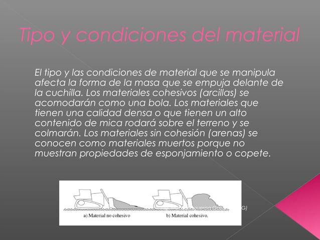 Tipo y condiciones del material El tipo y las condiciones de material que se manipula afecta la forma de la masa que se em...