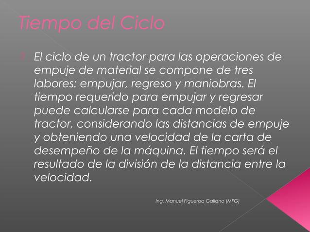 Tiempo del Ciclo  El ciclo de un tractor para las operaciones de empuje de material se compone de tres labores: empujar, ...