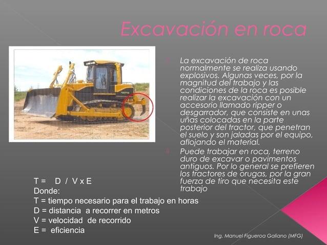 Excavación en roca  La excavación de roca normalmente se realiza usando explosivos. Algunas veces, por la magnitud del tr...