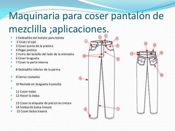 Maquinaria para coser pantalón de mezclilla ;aplicaciones.<br />1 Dobladillo del bolsito para boleto <br /> 2 Coser el oja...