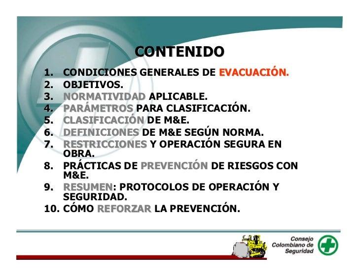 CONTENIDO 1.  CONDICIONES GENERALES DE EVACUACIÓN.                              EVACUACIÓN 2.  OBJETIVOS. 3.  NORMATIVIDAD...