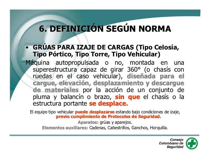 6. DEFINICIÓN SEGÚN NORMA  • GRÚAS PARA IZAJE DE CARGAS (Tipo Celosía,   Tipo Pórtico, Tipo Torre, Tipo Vehicular) Máquina...