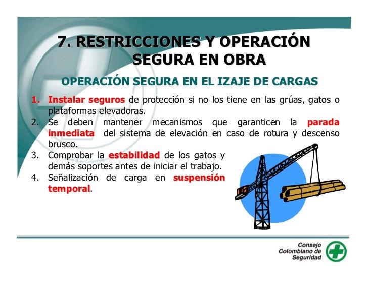 7. RESTRICCIONES Y OPERACIÓN          SEGURA EN OBRA OPERACIÓN SEGURA EN EL IZAJE DE CARGAS                               ...