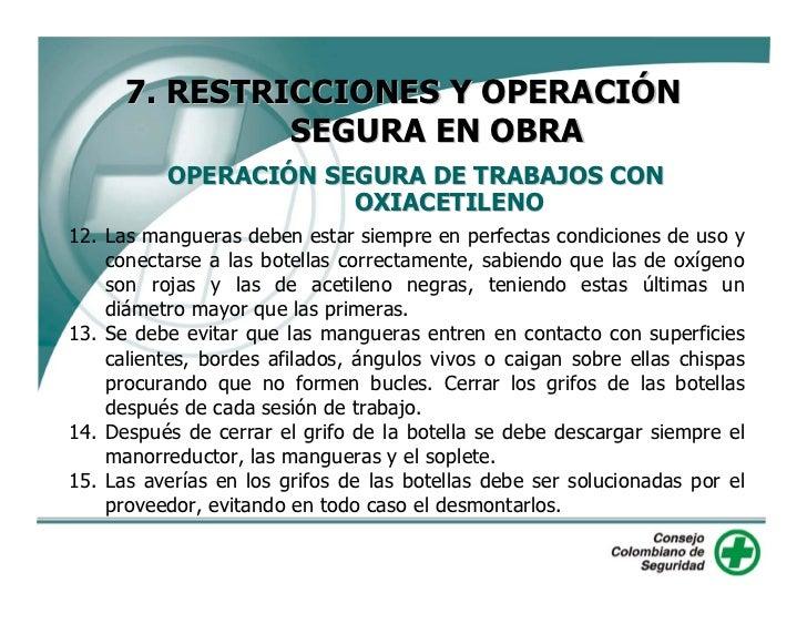 7. RESTRICCIONES Y OPERACIÓN                SEGURA EN OBRA           OPERACIÓN SEGURA DE TRABAJOS CON                     ...