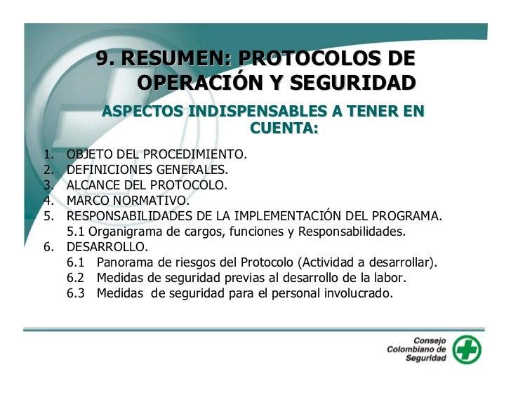 9. RESUMEN: PROTOCOLOS DE         OPERACIÓN Y SEGURIDAD      ASPECTOS INDISPENSABLES A TENER EN                     CUENTA...