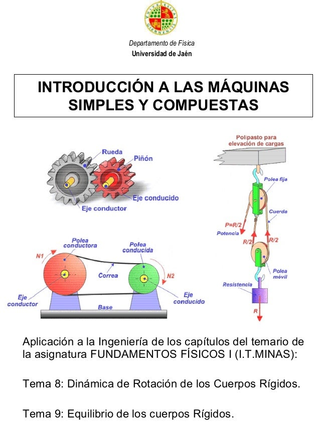 INTRODUCCIÓN A LAS MÁQUINAS SIMPLES Y COMPUESTAS Aplicación a la Ingeniería de los capítulos del temario de la asignatura ...