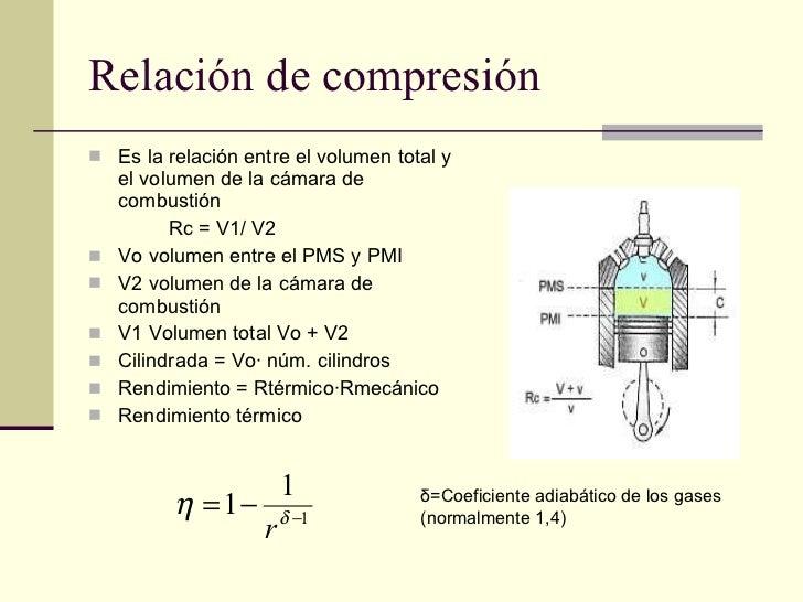 Relación de compresión <ul><li>Es la relación entre el volumen total y el volumen de la cámara de combustión  </li></ul><u...