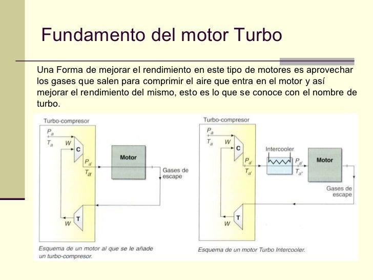Fundamento del motor Turbo Una Forma de mejorar el rendimiento en este tipo de motores es aprovechar los gases que salen p...