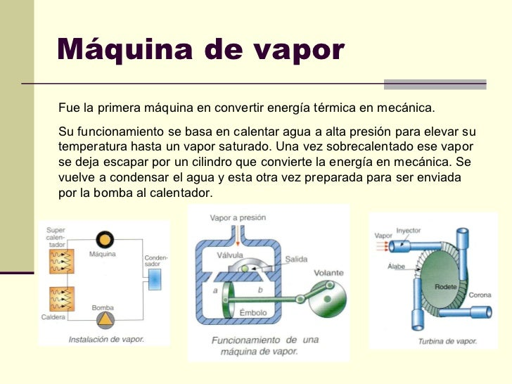 Máquina de vapor Fue la primera máquina en convertir energía térmica en mecánica. Su funcionamiento se basa en calentar ag...