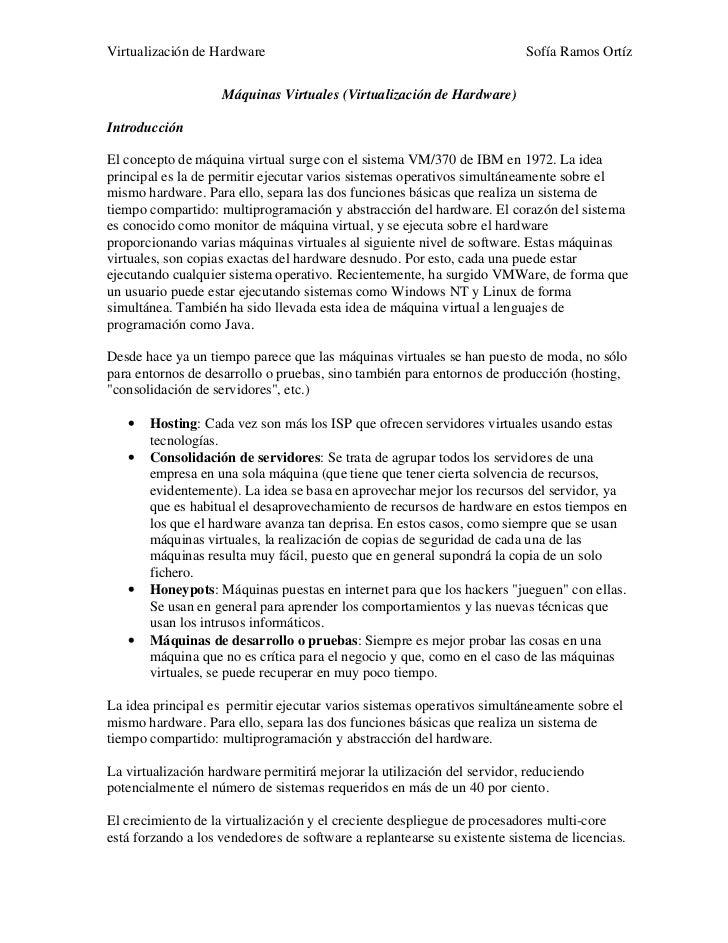 Virtualización de Hardware                                                Sofía Ramos Ortíz                    Máquinas Vi...