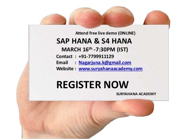 Attend free live demo (ONLINE) SAP HANA & S4 HANA MARCH 16th -7 ...