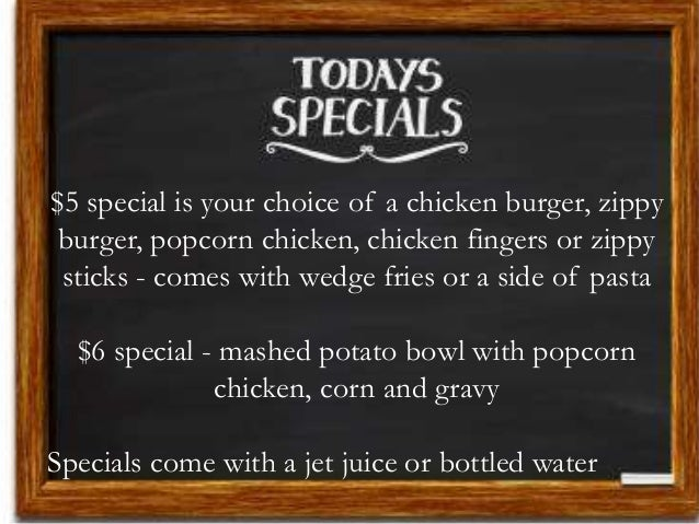 $5 special is your choice of a chicken burger, zippy burger, popcorn chicken, chicken fingers or zippy sticks - comes with...