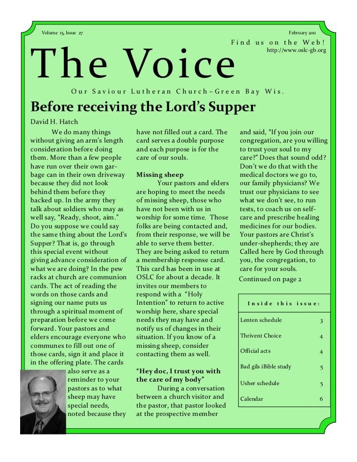 Volume 15, Issue 27                                                                     February 2011                     ...