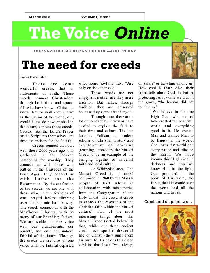MARCH 2012                       VOLUME I, ISSUE 3     The Voice Online        OUR SAVIOUR LUTHERAN CHURCH—GREEN BAYThe ne...