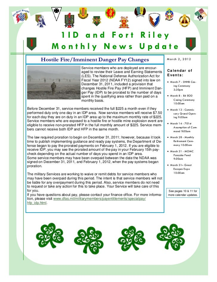 1ID and For t Riley                    Monthly News Update             Hostile Fire/Imminent Danger Pay Changes           ...