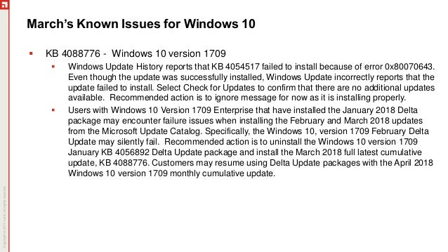 problems with windows update march 2018