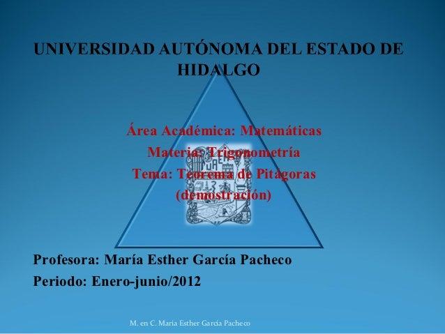 Área Académica: Matemáticas                Materia: Trigonometría              Tema: Teorema de Pitágoras                 ...