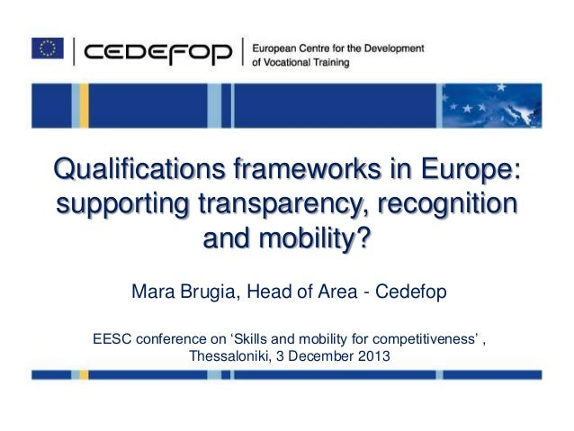 Qualifications frameworks in Europe: supporting transparency, recognition and mobility? Mara Brugia, Head of Area - Cedefo...