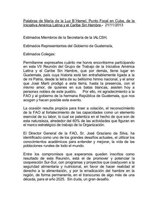 Palabras de María de la Luz B´Hamel, Punto Focal en Cuba, de la Iniciativa América Latina y el Caribe Sin Hambre.- 21/11/2...