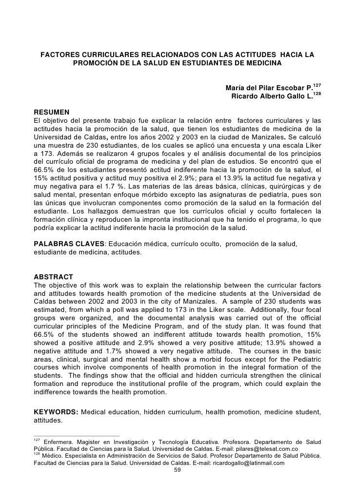 FACTORES CURRICULARES RELACIONADOS CON LAS ACTITUDES HACIA LA              PROMOCIÓN DE LA SALUD EN ESTUDIANTES DE MEDICIN...