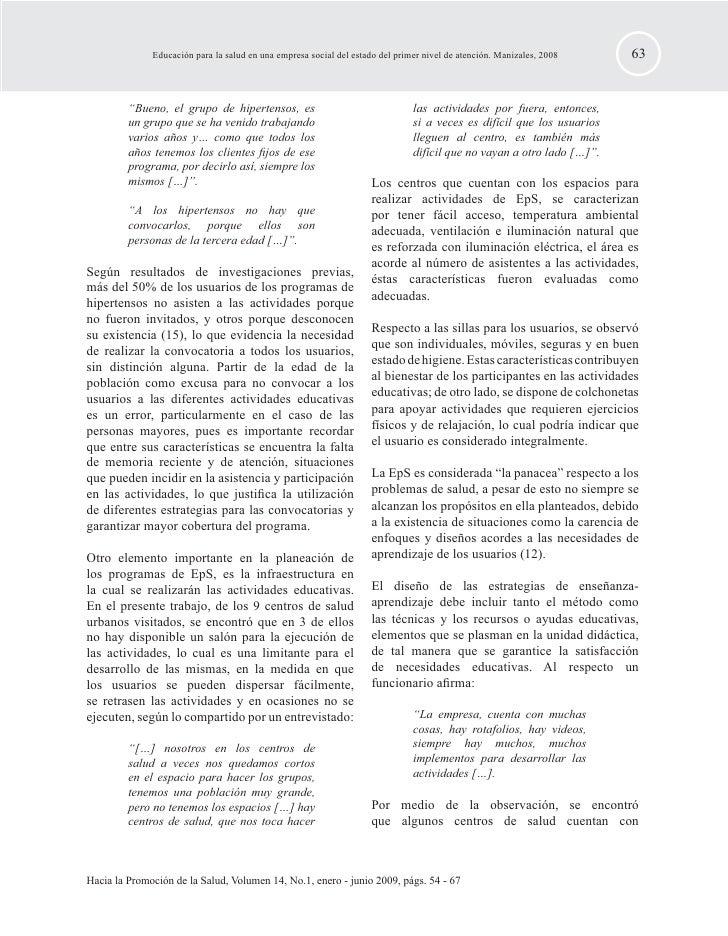 EDUCACIÓN PARA LA SALUD EN UNA EMPRESA SOCIAL DEL ESTADO DEL PRIMER NIVEL DE ATENCIÓN