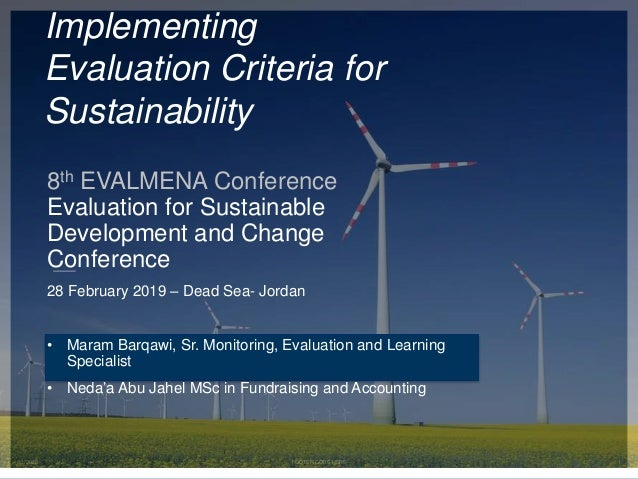 3/1/2020 FOOTER GOES HERE 1 Implementing Evaluation Criteria for Sustainability 8th EVALMENA Conference Evaluation for Sus...