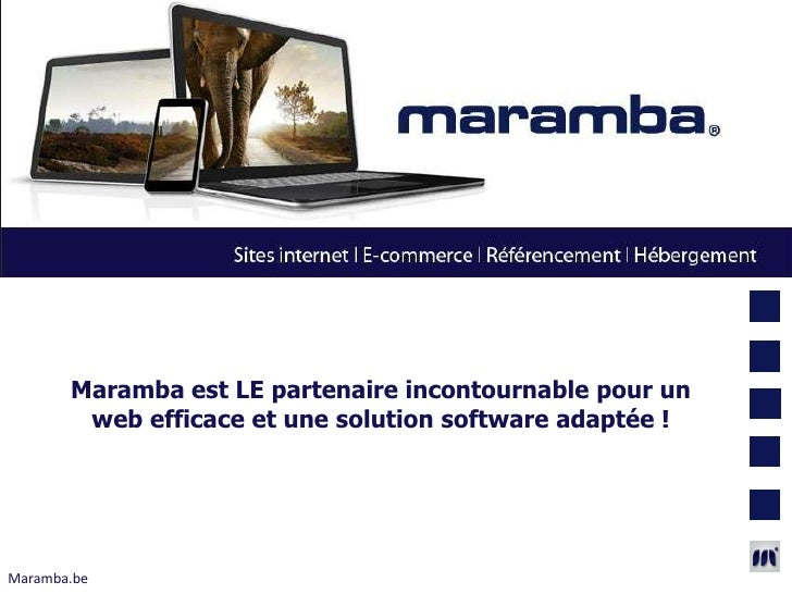 Maramba est LE partenaire incontournable pour un        web efficace et une solution software adaptée !Maramba.be