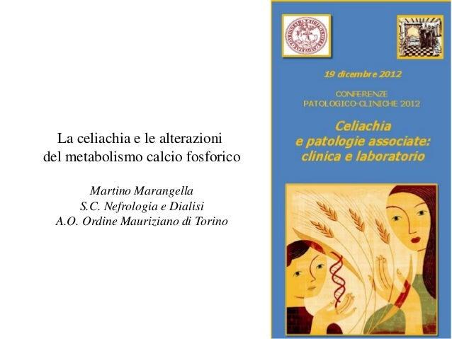 La celiachia e le alterazionidel metabolismo calcio fosforico        Martino Marangella      S.C. Nefrologia e Dialisi  A....