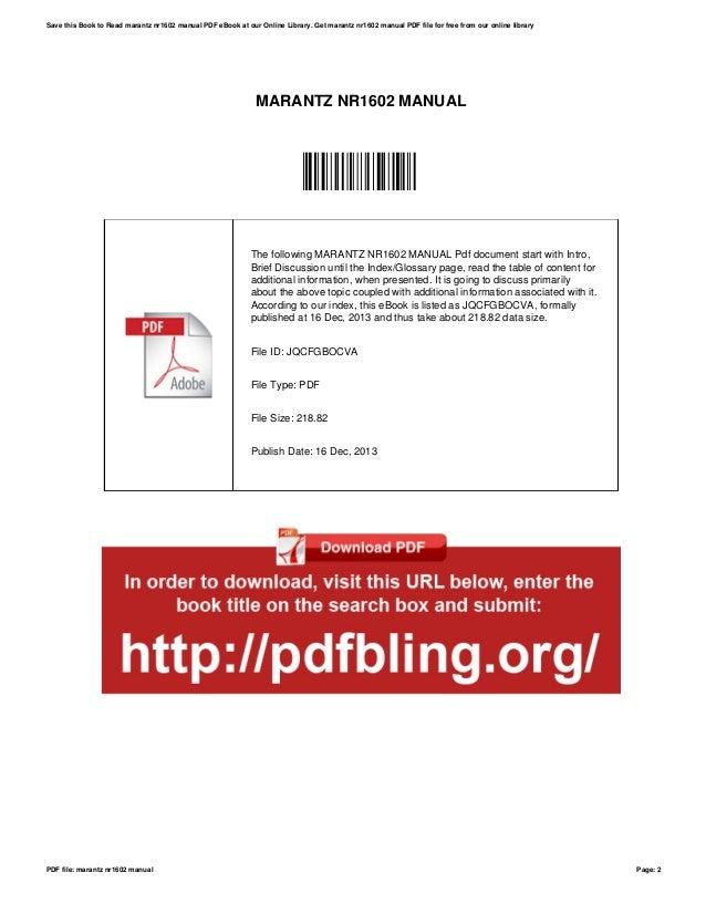 Nr1602 pdf marantz manual
