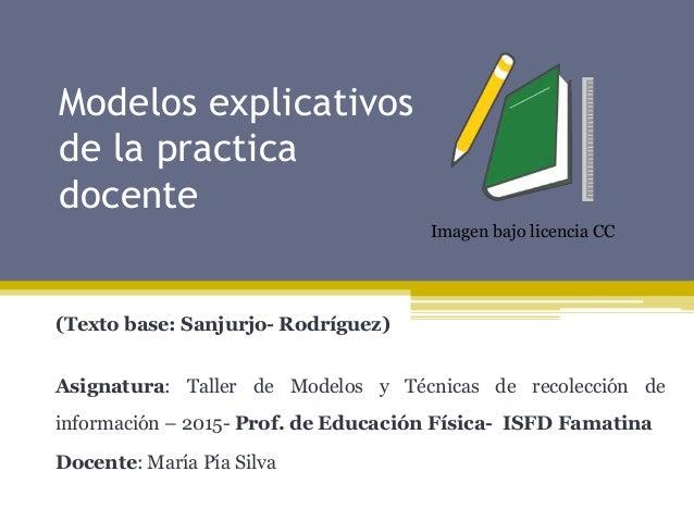 Modelos explicativos de la practica docente (Texto base: Sanjurjo- Rodríguez) Asignatura: Taller de Modelos y Técnicas de ...