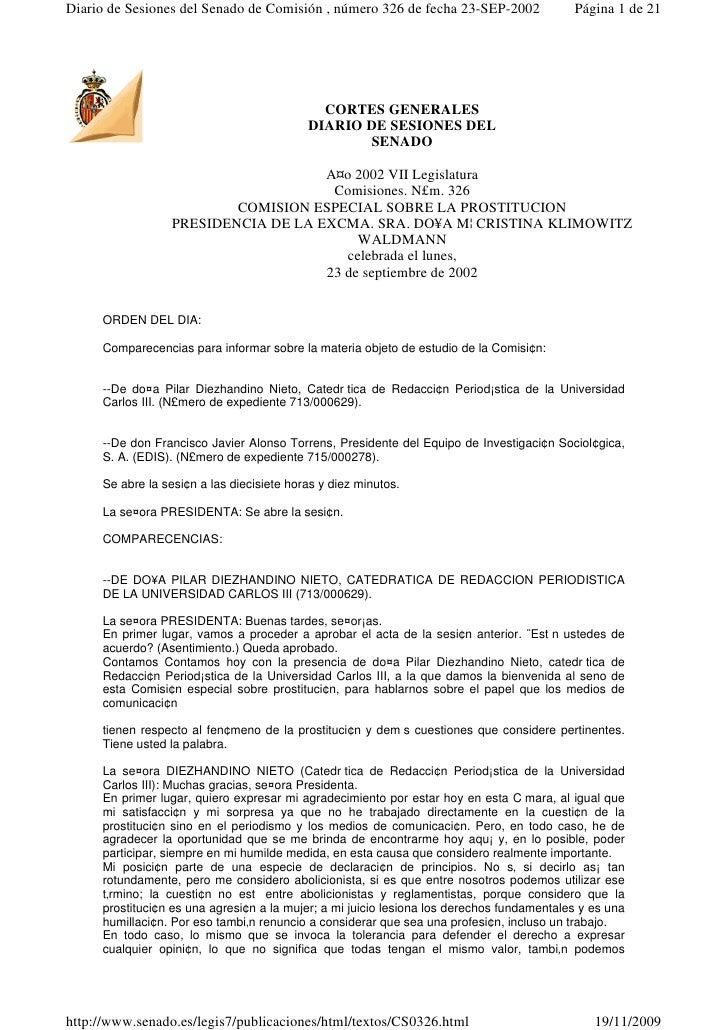 Diario de Sesiones del Senado de Comisión , número 326 de fecha 23-SEP-2002                Página 1 de 21                 ...