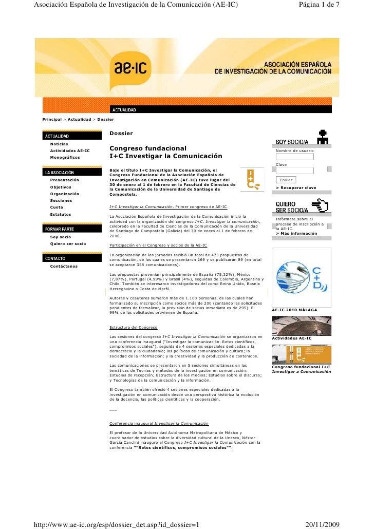 Asociación Española de Investigación de la Comunicación (AE-IC)                                                           ...
