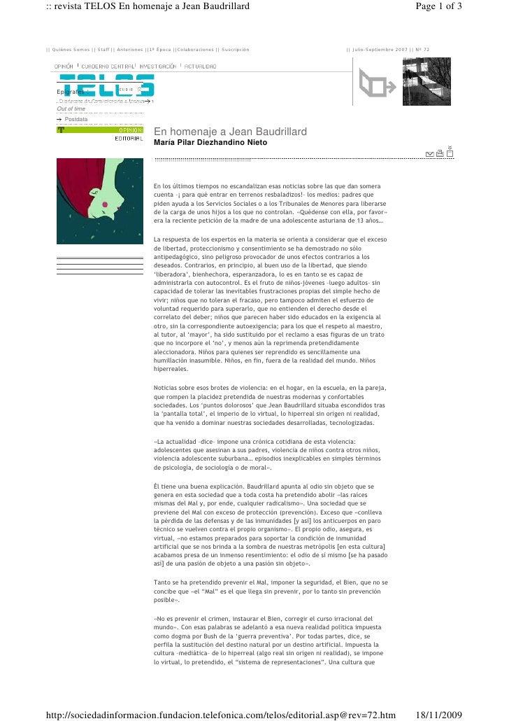 :: revista TELOS En homenaje a Jean Baudrillard                                                                           ...