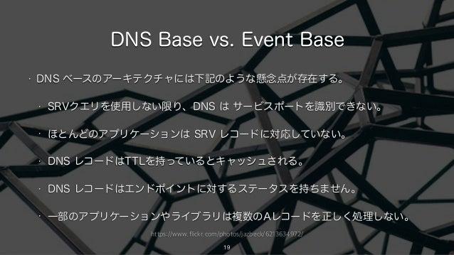 https://www.flickr.com/photos/jazbeck/6213634972/ DNS Base vs. Event Base • DNS ベースのアーキテクチャには下記のような懸念点が存在する。 • SRVクエリを使用しな...