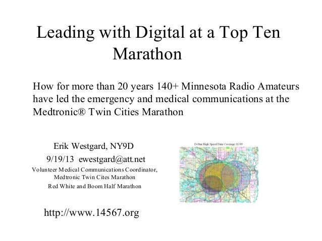 Leading with Digital at a Top Ten Marathon How for more than 20 years 140+ Minnesota Radio Amateurs have led the emergency...