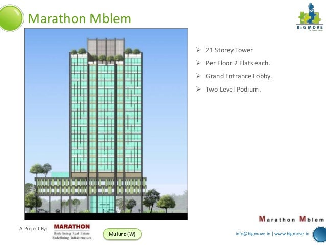 Marathon Mblem  21 Storey Tower  Per Floor 2 Flats each.  Grand Entrance Lobby.  Two Level Podium.  A Project By: Mulu...