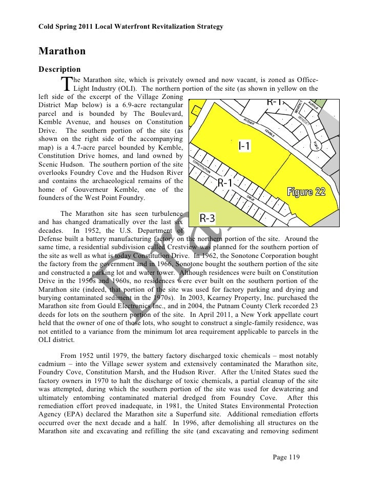 Cold Spring 2011 Local Waterfront Revitalization StrategyMarathonDescription       T    he Marathon site, which is private...