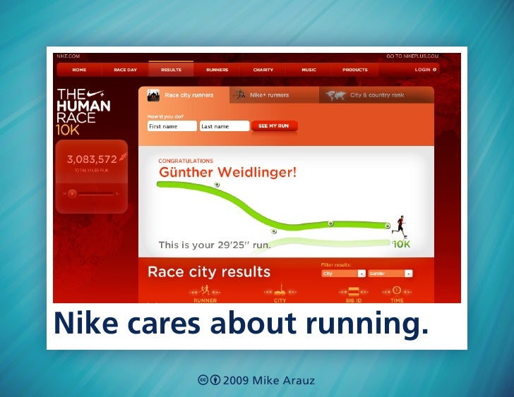 Nike cares about running.            2009 Mike Arauz