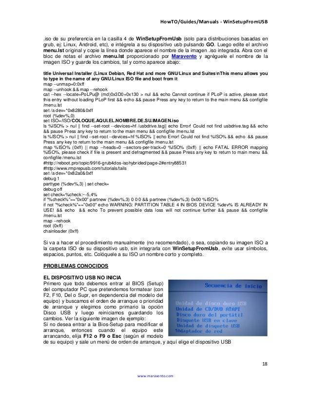 HowTO/Guides/Manuals - WinSetupFromUSB 18 www.maravento.com .iso de su preferencia en la casilla 4 de WinSetupFromUsb (sol...