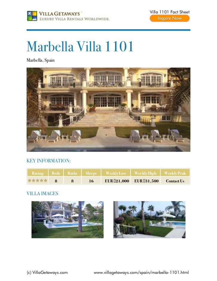 Villa 1101 Fact SheetMarbella Villa 1101Marbella, SpainKEY INFORMATION:  Rating     Beds     Baths   Sleeps     Weekly Low...