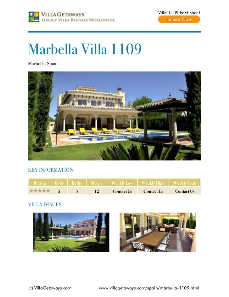 Villa 1109 Fact SheetMarbella Villa 1109Marbella, SpainKEY INFORMATION:  Rating     Beds       Baths   Sleeps     Weekly L...
