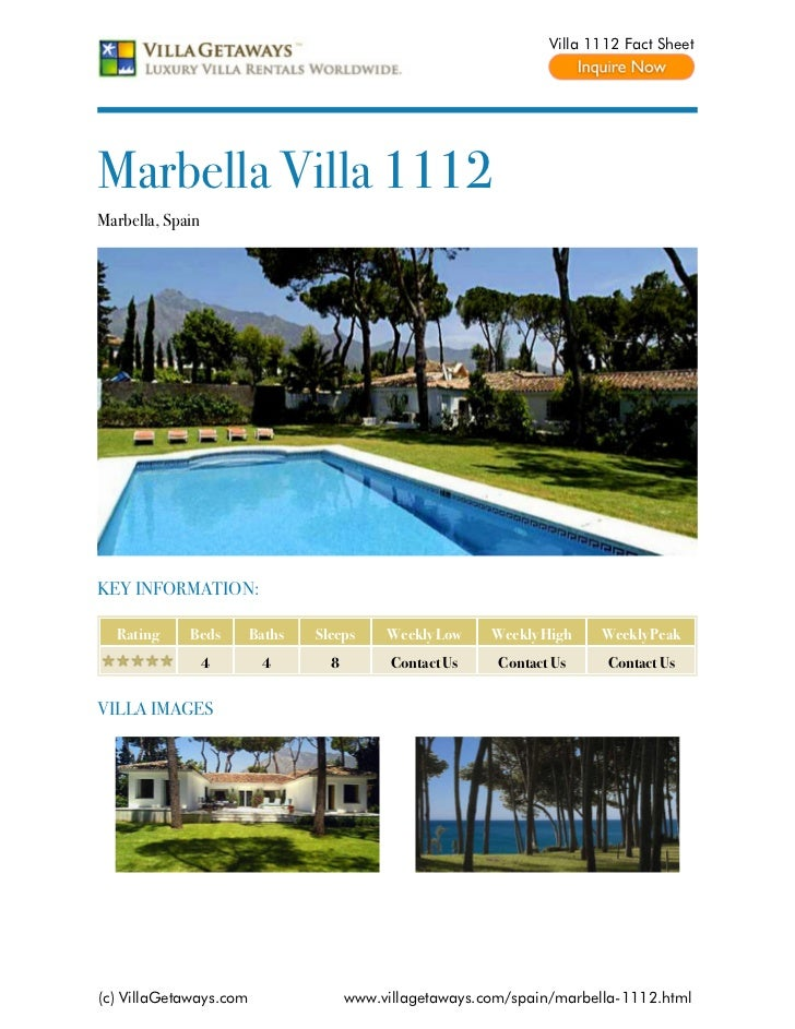 Villa 1112 Fact SheetMarbella Villa 1112Marbella, SpainKEY INFORMATION:  Rating     Beds       Baths   Sleeps     Weekly L...