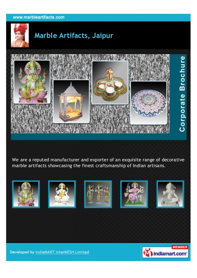 Marble Artifacts, JaipurWe are a reputed manufacturer and exporter of an exquisite range of decorativemarble artifacts sho...