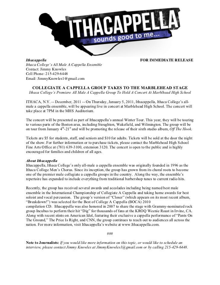 Winter tour press release for Concert press release template