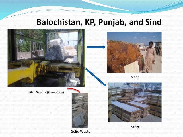 Balochistan, KP, Punjab, and Sind Slabs Slab Sawing (Gang-Saw) Strips Solid Waste